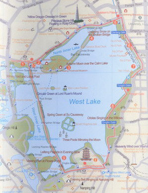 Hangzhou West Lake Scenic Area Map