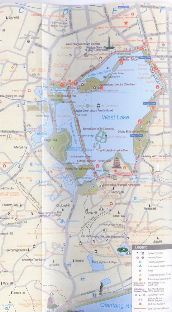 Hangzhou MapHangzhou City MapHangzhou West Lake Scenic Area Map